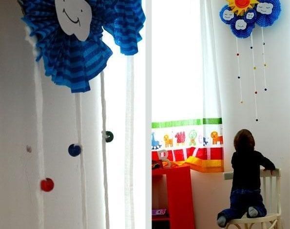فكرة لعمل شمس وسحاب ديكور لغرفة الاطفال