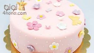 طريقة تزين الكيك بعجينة السكر والكيكة الاسفنجية خطوة خطوة بالصور