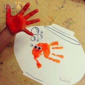 طباعه الالوان بكف اليد طريقة ممتعة جدا للتلوين والرسم