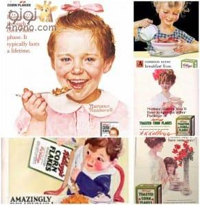 إعلانات قديمة من أوائل القرن الماضي لمنتج كورن فليكس