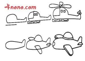 تعلم كيفية رسم طيارة باكثر من شكل بالصور